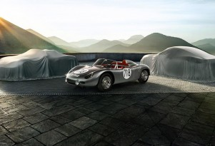 Original Porsche 718 race car with the 718 Boxster and 718 Cayman