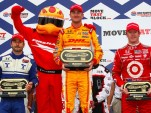 Oriol Servia, Ryan Hunter-Reay, and Scott Dixon
