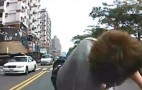 Pedestrian Caught Red-Handed Faking Car Accident: Video