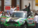 Peterhansel celebrating his 10th Dakar Rally victory
