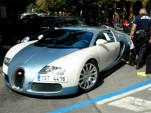 Police in the Czech Republic apply tire clamp to Bugatti Veyron supercar