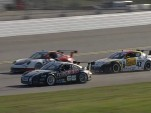 Porsche 911 GT3 Cup cars dice with a Mazda RX-8 at Daytona