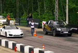 Porsche 911 Turbo and Bentley Bentayga at a drag strip