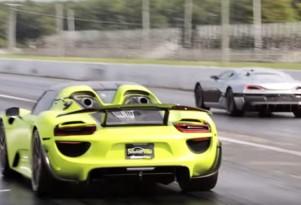Porsche 918 Spyder versus Rimac Concept_One at the drag strip