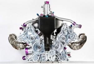 Porsche 919 Hybrid LMP1 race car's V-4 engine