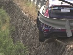 Rally driver crashes into a guardrail during the Canary Island Rally