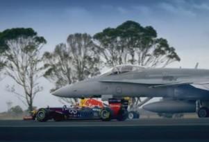 Red Bull F1 car and F/A-18 Hornet screencap.