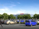 Rendering of Honda Torrance, California, campus with electric-car charging stations.