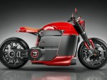 Rendering of 'Tesla Model M' electric motorcycle, created by Jans Slapins, Silodrome website