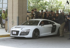Robert Downey Jr., as Tony Stark, drives the Audi R8 e-tron - image: Audi