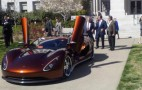 Governor Schwarzenegger takes a spin in the RMC Scorpion eco supercar