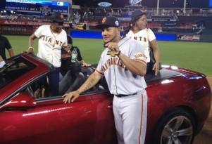 San Francisco Giant's Melky Cabrera and his new 2013 Chevrolet Camaro ZL1