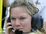 Sarah Fisher talks to her driver at Indy - Anne Proffit photo