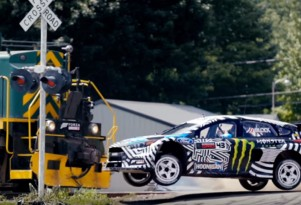 Scene from Ken Block's 'Gymkhana Nine: Raw Industrial Playground'