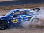 Scott Speed and his Shark Week-themed 2015 Volkswagen Beetle Global Rallycross Championship car