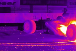 Sebastian Vettel does massive F1 burnout on FLIR infrared