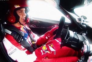 Sebastian Vettel drives the Ferrari FXX K