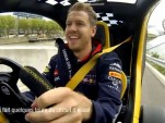 Sebastian Vettel driving the Renault Twizy F1 concept