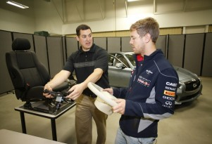 Sebastian Vettel helps engineers at Infiniti's North American Technical Center