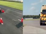 Sebastian Vettel in an ambulance takes on Ferrari 488 GTB driver