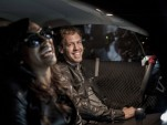 Sebastian Vettel on the set of hip hop singer Melanie Fiona's new music video