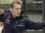 Sebastian Vettel shows his kung fu moves.