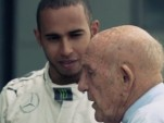 Sir Stirling Moss and Lewis Hamilton discuss their race cars