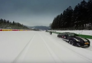 Snowboarding Behind A Nissan GT-R At Spa