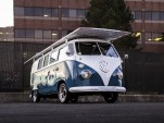 Solar-powered electric 1966 Volkswagen bus owned by Daniel Theoblad