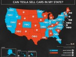 State map showing where Tesla Motors can (blue) and can't (red) sell cars [Mojo Motors, Apr 2015]