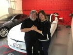 Steve and Janet Wozniak with new 2016 Tesla Model S, December 2016  [source: Steve Wozniak Facebook]