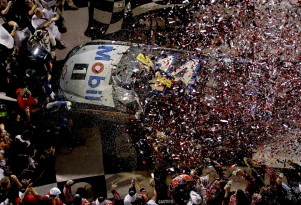 Stewart's car engulfed in confetti at Daytona International Speedway - NASCAR photo
