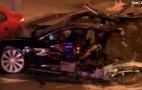 Stolen Tesla Police Chase Ends In Massive, Fiery Wreck, Splits Model S In Half: Video