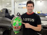 Tagliani with his helmet at the BHA shop - Photo courtesy Bryan Herta Autosport