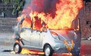 Tata Nano in flames, Mumbai, India, from Indian Autos Blog