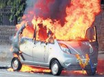 Tata Nano in flames, Mumbai, India, from Indian Autos Blog