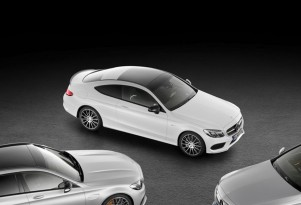 Teaser for 2017 Mercedes-AMG C43 Coupe debuting at 2016 Geneva Motor Show