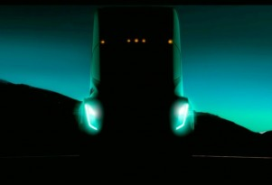 Elon Musk teased Tesla's electric semi truck at a TED talk