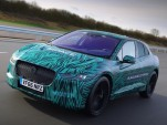 Teaser photo of Jaguar I-Pace electric car in camouflage undergoing road testing, March 2017