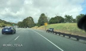 Tesla Model 3 test car, Los Altos, CA, Apr 8, 2017  [clip from YouTube video by OMG_Tesla}