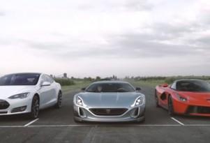 Tesla Model S, Rimac Concept_One and Ferrari LaFerrari drag race