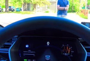 Tesla Model S testing collision avoidance with human guinea pig