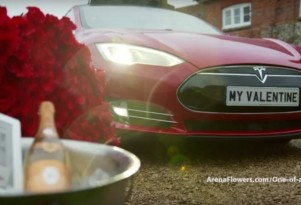 Valentine Extravaganza: Red Roses In Maroon Tesla Model S (With Disclaimers)