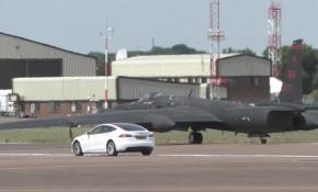 Tesla Model S U-2 spy plane chase car