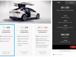 Tesla Model X online configurator