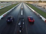 Tesla Model X vs Tesla Model S drag race screencap