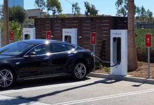 Tesla Motors Supercharger station in Oxnard, California.