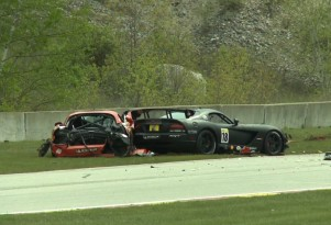 The aftermath of David Pintaric's SRT Viper Cup crash.
