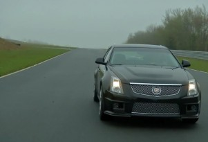 The Cadillac CTS-V wagon laps Monticello in the rain