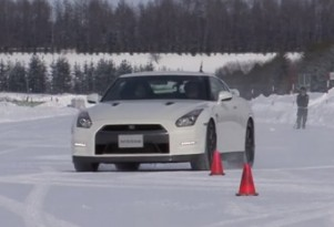 The Nissan GT-R shows its snow-driving capabilities